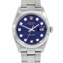 Rolex Date Model 1500 - Blue Diamond Dial - Stainless Steel - Smooth Bezel On A Oyster Bracelet - Pre-Owned