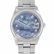 Pre-owned Rolex Mens Stainless Steel Date Watch, 1500 Model with Blue MOP Diamond Dial - Diamond Bezel - Oyster Band