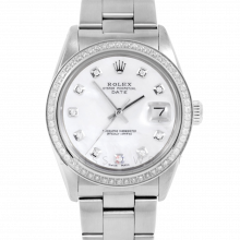 Pre-owned Rolex Mens Stainless Steel Date Watch - 1500 Model with Mother of Pearl Diamond Dial - Diamond Bezel - Oyster Band