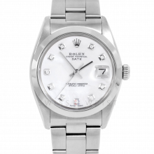 Rolex Date Model 1500 - Custom Mother of Pearl Diamond Dial - Stainless Steel - Smooth Bezel On A Oyster Bracelet - Pre-Owned