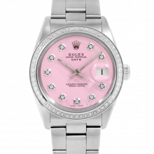 Pre-owned Rolex Men's Stainless Steel Date Model Watch with Pink Diamond Dial - 1CT VS Diamond Bezel - Oyster Band
