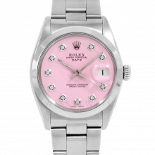 Rolex Date Model 1500 - Pink Diamond Dial - Stainless Steel - Smooth Bezel On A Oyster Bracelet - Pre-Owned