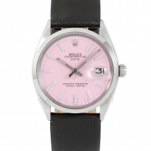 Rolex 34mm Date Model - Pink Stick Dial - Stainless Steel - Smooth Bezel On A Black Leather Strap - Pre-Owned