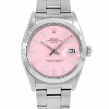 Rolex Date Model 1500 - Pink Stick Dial - Stainless Steel - Smooth Bezel On A Oyster Bracelet - Pre-Owned