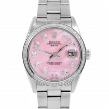 Pre-owned Rolex Men's Stainless Steel Date Model Watch with Pink Mother of Pearl Diamond Dial & 1CT VS Diamond Bezel - Oyster Band
