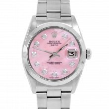 Rolex Date Model 1500 - Custom Pink Mother of Pearl Diamond Dial - Stainless Steel - Smooth Bezel On A Oyster Bracelet - Pre-Owned