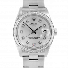 Pre-Owned Rolex Mens Stainless Steel Date Watch - 1500 Model With Silver Diamond Dial - Diamond Bezel - Oyster Band