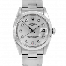 Rolex Date Model 1500 - Silver Diamond Dial - Stainless Steel - Smooth Bezel On A Oyster Bracelet - Pre-Owned