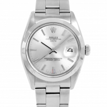 Rolex Date Model 1500 - Silver Stick Dial - Stainless Steel - Smooth Bezel On A Oyster Bracelet - Pre-Owned