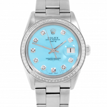 Rolex Date Model 1500 - Turquoise Diamond Dial - Stainless Steel - 1CT VS Diamond Bezel On A Oyster Band - Pre-owned