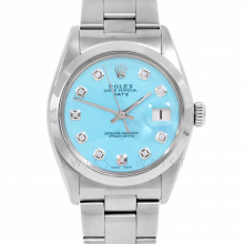Rolex Date Model 1500 - Turquoise Diamond Dial - Stainless Steel - Smooth Bezel On A Oyster Bracelet - Pre-Owned