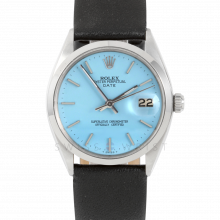 Rolex 34mm Date Model - Turquoise Stick Dial - Stainless Steel - Smooth Bezel On A Black Leather Strap - Pre-Owned