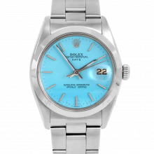 Rolex Date Model 1500 - Turquoise Stick Dial - Stainless Steel - Smooth Bezel On A Oyster Bracelet - Pre-Owned