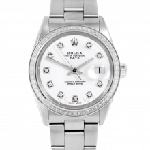 Pre-owned Rolex Men's Stainless Steel Date Model Watch with White Diamond Dial & Diamond Bezel - Oyster Band
