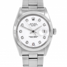 Rolex Date Model 1500 - Custom White Diamond Dial - Stainless Steel - Smooth Bezel On A Oyster Bracelet - Pre-Owned