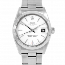Rolex Date Model 1500 - White Stick Dial - Stainless Steel - Smooth Bezel On A Oyster Bracelet - Pre-Owned