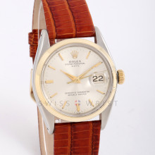 Rolex Oyster Perpetual Date 34 Gold & Steel w/ Silver Stick Dial & Smooth Bezel on Brown Leather - Pre-Owned Watch