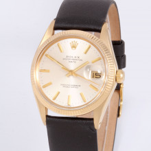 Rolex Oyster Perpetual Date 34 mm 1503 Yellow Gold with Silver Stick Dial & Fluted Bezel with Black Leather - Pre-Owned