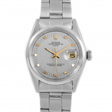 Rolex Date 34 mm 1500 Stainless Steel w/ Silver Dial & Smooth Bezel with Oyster Bracelet - Men's Pre-Owned Watch