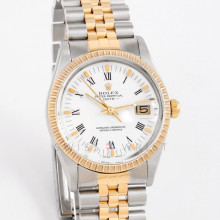 Rolex 15053 Mens Date 34mm Yellow Gold & Stainless Steel w/ White Roman Dial and Engine Turned Bezel with Jubilee Bracelet - Pre-Owned