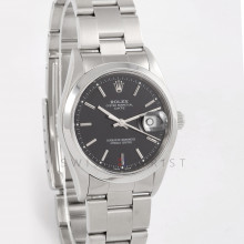 Rolex Date 34 mm 15200 Stainless Steel w/ Black Stick Dial & Smooth Bezel with Oyster Bracelet - Men's Pre-Owned Watch w/ Box & Papers