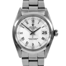 Rolex Date Model 1500 - White Roman Dial - Stainless Steel - Smooth Bezel On A Oyster Bracelet - Pre-Owned