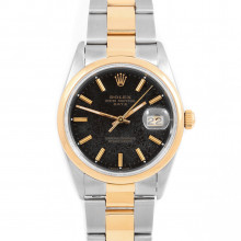 Rolex 15203 Mens Oyster Perpetual Date 34 mm Yellow Gold and Stainless Steel w/ Black Stick Dial & Smooth Bezel with Oyster Bracelet - Pre-Owned