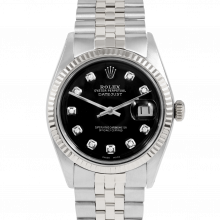 Rolex Vintage Datejust 1601 Custom Black Diamond Dial - Stainless Steel - Fluted Bezel On A Jubilee Band - Pre-Owned