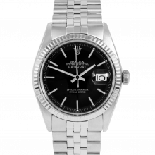 Rolex Vintage Datejust 1601 Black Stick Dial - Stainless Steel - Fluted Bezel On A Jubilee Band - Pre-Owned