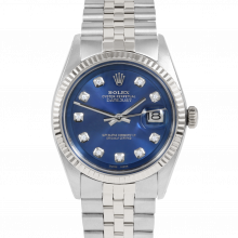 Rolex Vintage Datejust 1601 Custom Blue Diamond Dial - Stainless Steel - Fluted Bezel On A Jubilee Band - Pre-Owned