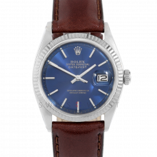 Rolex Datejust 1601 Blue Stick Dial - Stainless Steel - White Gold Fluted Bezel on a Brown Leather Strap - Pre-Owned