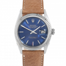 Rolex Datejust 36 1601 White Gold & Stainless Steel, Refinished Blue Stick, Fluted Bezel On A Tan Texas Calf Leather Strap - Men's Pre-Owned Watch