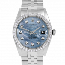 Rolex Datejust 36 1601 Stainless Steel, Custom Blue Mother of Pearl Diamond, 1ct Diamond Bezel On A Jubilee Bracelet - Men's Pre-Owned Watch