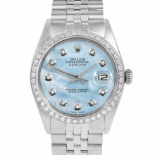 Rolex Datejust 36 1601 Stainless Steel, Custom Light Blue Mother of Pearl Diamond, 1ct Diamond Bezel On A Jubilee Bracelet - Men's Pre-Owned Watch