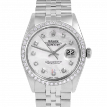 Rolex Datejust 36 1601 Stainless Steel, Custom Mother of Pearl Diamond, 1ct Diamond Bezel On A Jubilee Bracelet - Men's Pre-Owned Watch