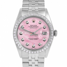 Rolex Datejust 36 1601 Stainless Steel, Custom Pink Mother of Pearl Diamond, 1ct Diamond Bezel On A Jubilee Bracelet - Men's Pre-Owned Watch