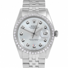 Rolex Datejust 36 1601 Stainless Steel, Custom Silver Diamond, 1ct Diamond Bezel On A Jubilee Bracelet - Men's Pre-Owned Watch