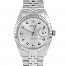 Rolex Vintage Datejust 1601 Custom Silver Diamond Dial - Stainless Steel - Fluted Bezel On A Jubilee Band - Pre-Owned