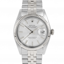 Rolex Vintage Datejust 1601 Silver Stick Dial - Stainless Steel - Fluted Bezel On A Jubilee Band - Pre-Owned