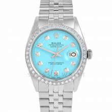 Rolex Datejust 36 1601 Stainless Steel, Custom Turquoise Diamond, 1ct Diamond Bezel On A Jubilee Bracelet - Men's Pre-Owned Watch