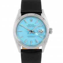 Rolex Datejust 1601 Turquoise Stick Dial - Stainless Steel - White Gold Fluted Bezel on a Black Leather Strap - Pre-Owned