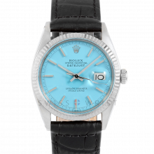 Rolex Datejust 1601 Turquoise Stick Dial - Stainless Steel - White Gold Fluted Bezel On A Black Alligator Leather Strap - Pre-Owned