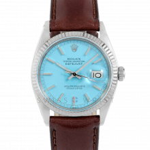 Rolex Datejust 1601 Turquoise Stick Dial - Stainless Steel - White Gold Fluted Bezel on a Brown Leather Strap - Pre-Owned