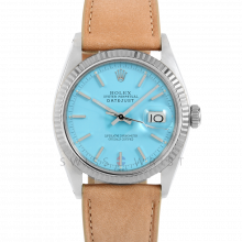 Rolex Datejust 36 1601 White Gold & Stainless Steel, Refinished Turquoise Stick, Fluted Bezel On A Taupe Calf Leather Strap - Men's Pre-Owned Watch