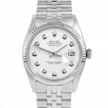 Rolex Vintage Datejust 1601 Custom White Diamond Dial - Stainless Steel - Fluted Bezel On A Jubilee Band - Pre-Owned