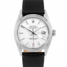 Rolex Datejust 1601 White Stick Dial Stainless Steel - White Gold Fluted Bezel On A Black Leather Strap - Pre-Owned