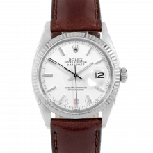 Rolex Datejust 36 1601 White Gold & Stainless Steel, Refinished White Stick, Fluted Bezel On A Brown Leather Strap - Men's Pre-Owned Watch