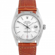 Rolex Datejust 1601 White Stick Dial - Stainless Steel - White Gold Fluted Bezel On A Brown Alligator Leather Strap - Pre-Owned