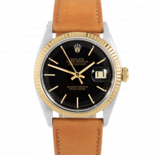 Rolex Datejust 36 1601 Yellow Gold & Stainless Steel, Refinished Black Stick, Fluted Bezel On A Tan Calf Leather Strap - Men's Pre-Owned Watch