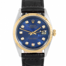 Rolex Datejust 36 mm 1601 Yellow Gold & Stainless Steel, Custom Blue Diamond, Fluted Bezel On A Black Alligator Leather Strap - Men's Pre-Owned Watch